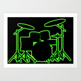 Neon Drum Kit Art Print