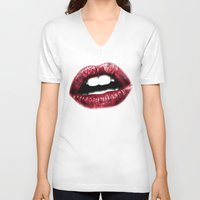 lips V-neck T-shirts featuring LIPS by Joelle Poulos