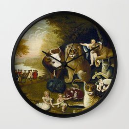 Classical Masterpiece 1833 'A Peaceable Kingdom' by Edward Hicks Wall Clock