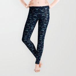 Abstract Shapes Lines Pattern Indigo Blue Batik Leggings