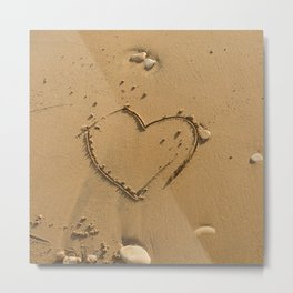 Heart drawn on the sand Metal Print