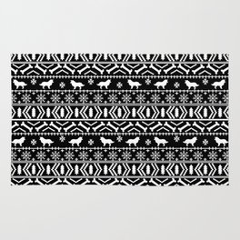 Border Collie fair isle christmas black and white holiday sweater dog breed gifts Rug