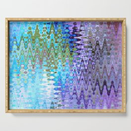 Charming Distractions, Abstract Art Waves Serving Tray