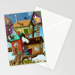 Home Sweet Tiny Tree Houses Stationery Cards