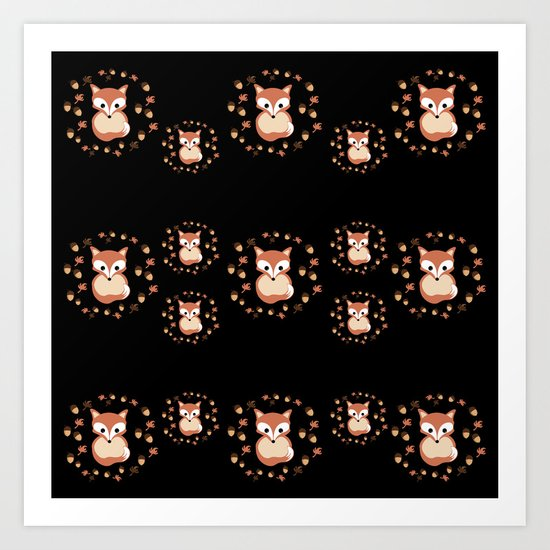 foxes in autumn. Pattern. Art Print