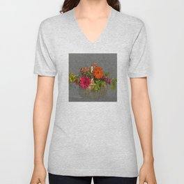 Flower Basket Still Life Unisex V-Neck