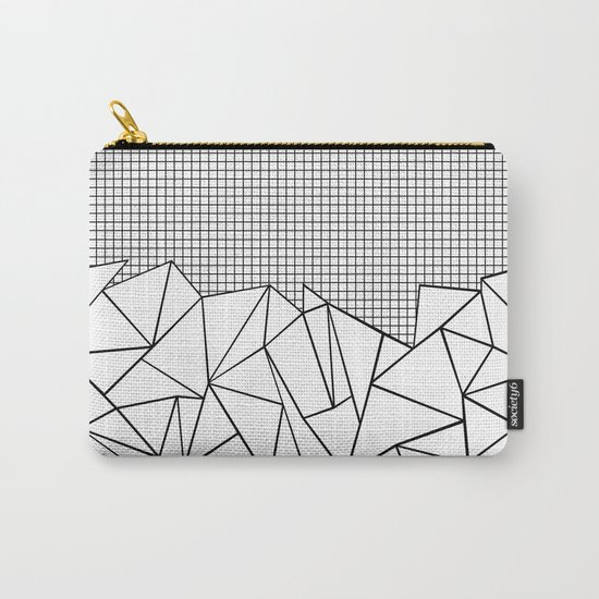 Abstract Outline Grid Black on White Carry-All Pouch
