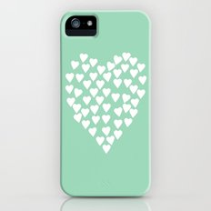 Hearts Heart White on Mint Slim Case iPhone (5, 5s)