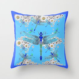 BLUE DRAGONFLIES LILAC WHITE DAISY FLOWERS  ART Throw Pillow