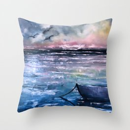 Coucher de soleil sur mer Throw Pillow