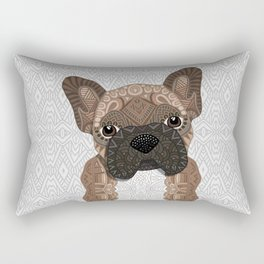 Brown Frenchie Puppy 001 Rectangular Pillow
