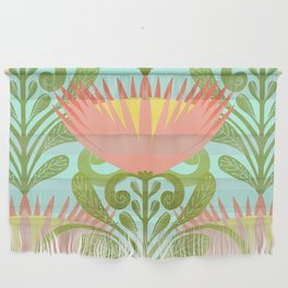 King Protea Flower Pattern - Turquoise Wall Hanging