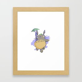 My Neighbor floating down with umbrella Framed Art Print