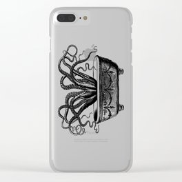 Tentacles in the Tub | Octopus | Black and White Clear iPhone Case