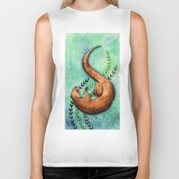 otter Biker Tanks featuring Otter by Georgia Roberts