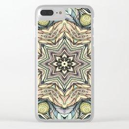 Light green flowers mandala Clear iPhone Case