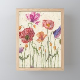 Watercolor Poppy Painting,Poppy Batik, Watercolor Batik,Poppy Watercolor, Wall Art, Floral Art, Framed Mini Art Print