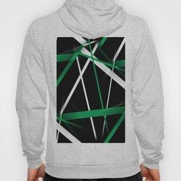 Seamless Aqua Green and White Stripes on A Black Background Hoody