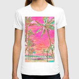 Retro Hawaiian Beach, Mauna Lani Pink T-shirt