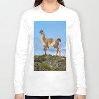 chile Long Sleeve T-shirts featuring A Guanoco, in Patagonia, Chile. by davehare