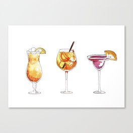 watercolor hand-painted cocktails illustration Canvas Print