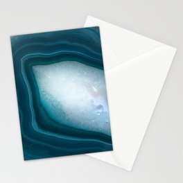 Teal Agate Slice with Druzy center Stationery Cards