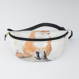 Fox and Birch Trees Fanny Pack