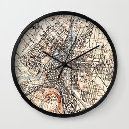 Vintage Map of Paterson NJ (1897) Wall Clock