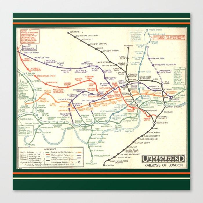 Vintage London Underground Map Canvas Print By Londondays Society6
