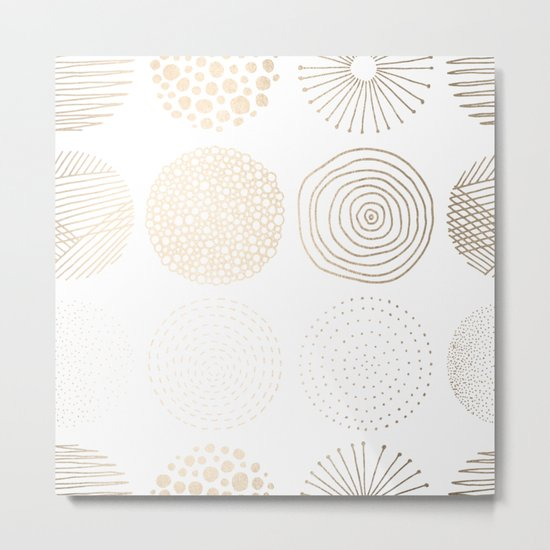 Simply Mod Circles in White Gold Sands on White Metal Print
