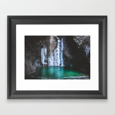 Frozen waterfall Framed Art Print