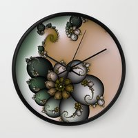 novelty Wall Clocks featuring Trinket Flower Fractal by Moody Muse