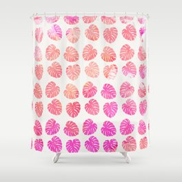 Cute pink coral watercolor leaves pattern Shower Curtain