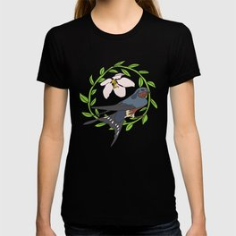 Floral Bird Illustration Spring Print T-shirt