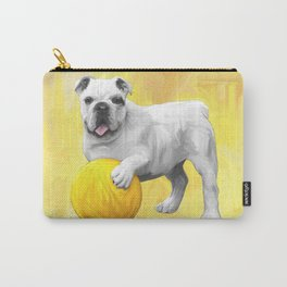 Bulldog Playing with Ball Watercolor Art Painting Carry-All Pouch