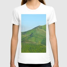 green field and green mountain with blue sky T-shirt