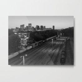 Train Yard Near The City in Black & White Metal Print