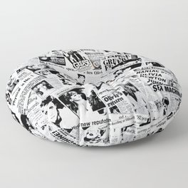 Olivia Newton-John - 40 years of Newspaper Headlines Collage Floor Pillow