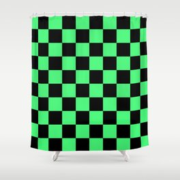 Black and Green Checkerboard Pattern Shower Curtain