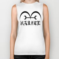 one piece Biker Tanks featuring Marine One Piece by Prince Of Darkness