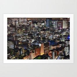 Tokyo Buildings at Night Art Print