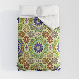 Tiled mandala flowers 2 Comforters