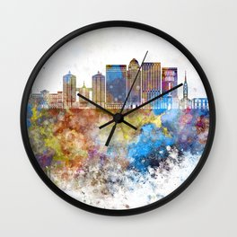 Louisville V2 skyline in watercolor background Wall Clock
