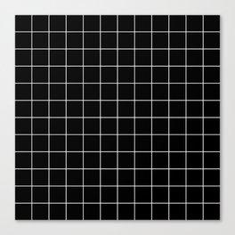 Grid Line Stripe Black and White Minimalist Geometric Canvas Print