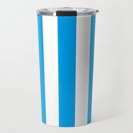 Microsoft blue - solid color - white vertical lines pattern Travel Mug