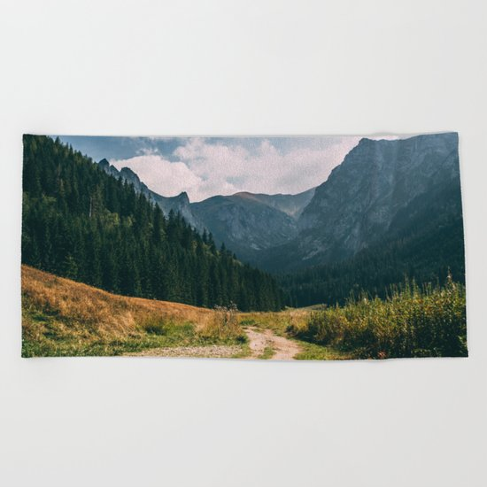 Sunny Mountain Valley Beach Towel