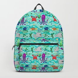 under the sea, green wave background, whale, fish, octopus, jellyfish, crab Backpack