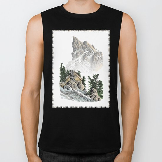 MOUNTAIN CABIN PEN DRAWING FROM THE NORTH CASCADE RANGE Biker Tank