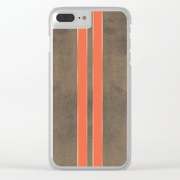 Vintage Hipster Retro Design - Brown Leather with Gold and Orange Stripes Clear iPhone Case