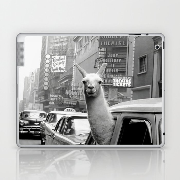 Llama Riding in Taxi, Black and White Vintage Print Laptop & iPad Skin
